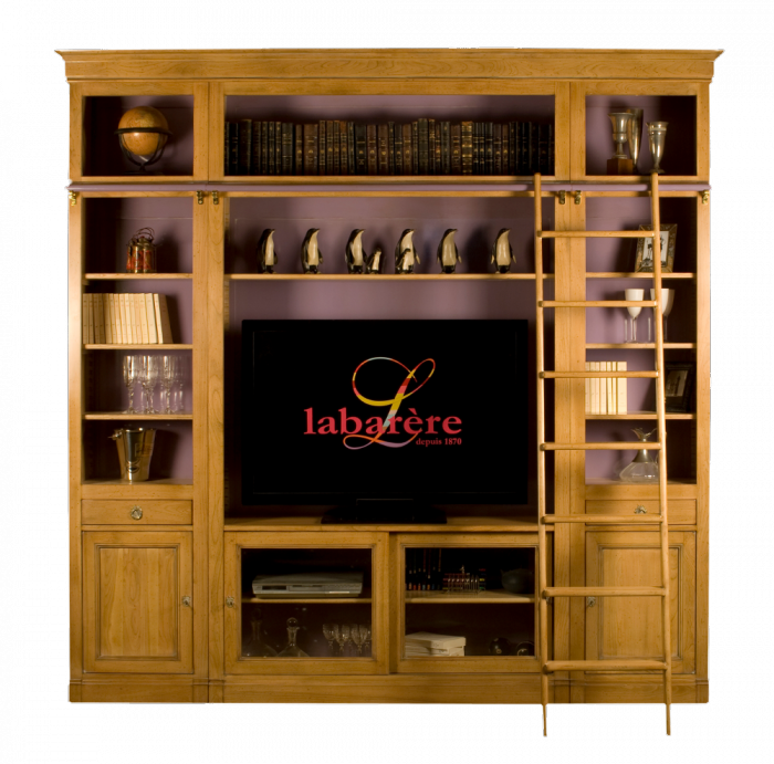 biblioth que tv avec r hausse chelle biblioth ques labar re les meubles de navarre. Black Bedroom Furniture Sets. Home Design Ideas